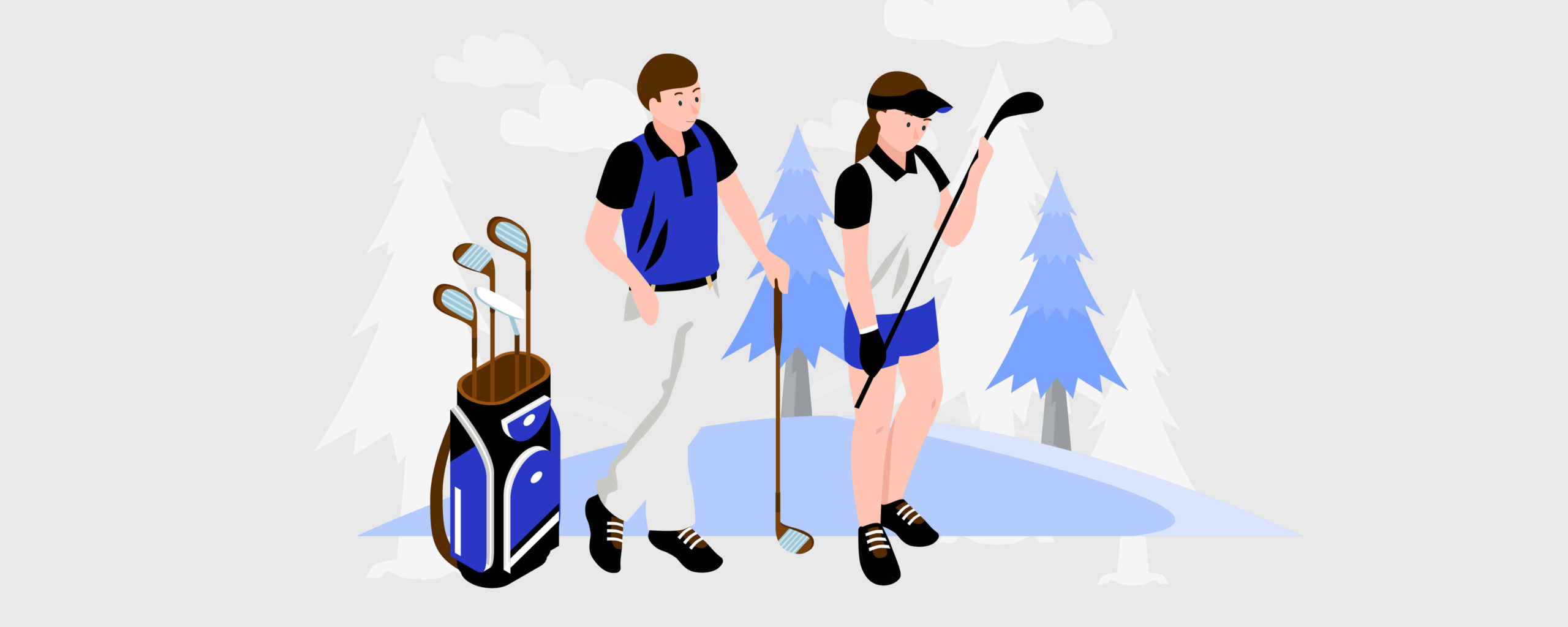 Man and woman in golf attire