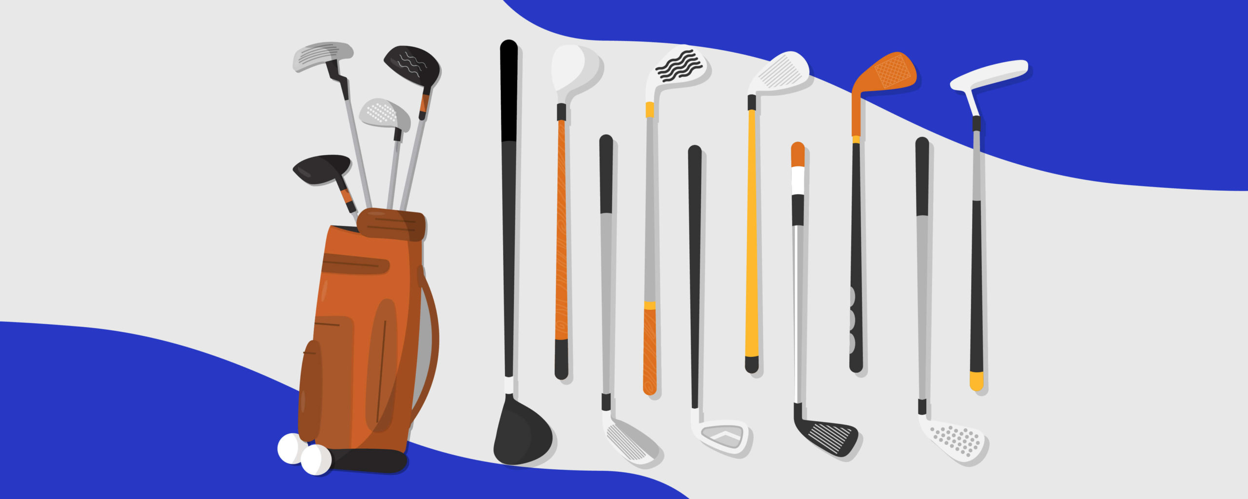 A bag of golf clubs and two golf balls next to it